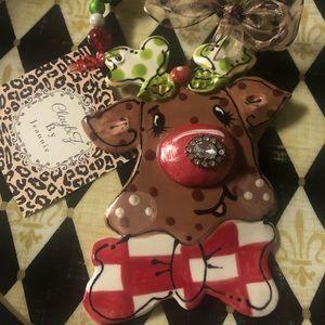 "Whimsical ClayArt ""Rudy"" Ornament!"